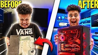 DESTROYING MY LITTLE BROTHERS GAMING SETUP & SURPRISING HIM WITH HIS DREAM PC!!! RAGING & EMOTIONAL!
