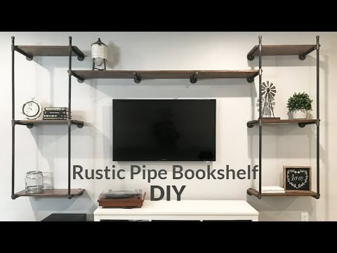 How to build a industrial rustic black pipe book shelf / entertainment unit
