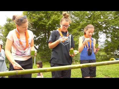 2015/7/27オランダのボーイスカウト、「朴木小学校」にてソーメン流し体験