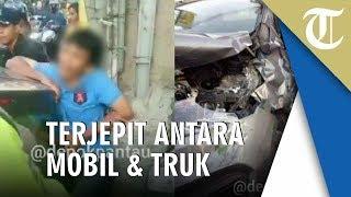 Viral Video Pria Terjepit di Antara Mobil dan Truk saat Kecelakaan