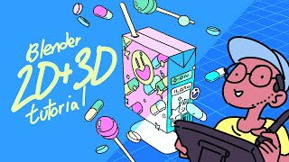 Blender 2D/3D for beginners, drawing and animating with greasepencil (blender 2.8) - Part 1/2
