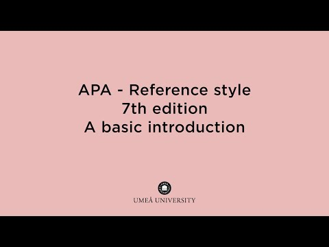 Film: An introduction to the APA reference style