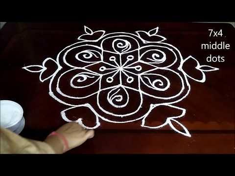 Diwali Rangoli : Rose Flowers&Deepam Rangoli designs with 7 to 4 dots | Pandaga muggulu | diya kolam
