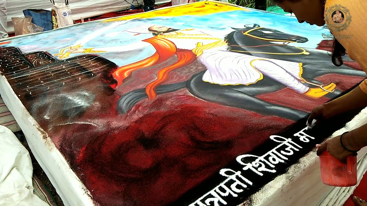 portrait rangoli design chatrapathi shivaji by rajashri junnarkar