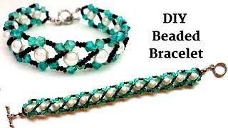 Diy Beaded Bracelet .Handmade Beaded Bracelet. Beading Tutorial For Beginners. Diy Elegant Bracelet
