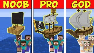 Minecraft Family NOOB vs Pro vs GOD: PIRAT SHIPS BATTLE in Minecraft!
