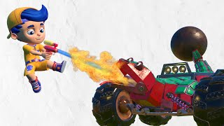 AnimaCars - Jonny does a WATER GUN battle with the Wrecking Ball LIZARD - cartoons with truck&animal