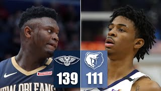 Zion Williamson and Ja Morant battle in first NBA matchup vs. each other   2019-20 NBA Highlights