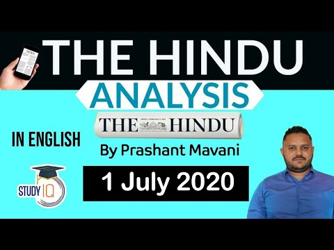 English 1 July 2020 - The Hindu Editorial News Paper Analysis [UPSC/SSC/IBPS] Current Affairs