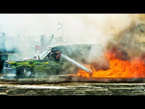 Burnout Passenger Puts Out FIRE...BIGGEST Burnouts In The WORLD!!