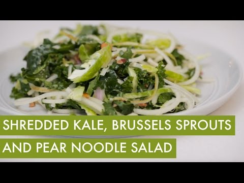 Shredded Kale Brussels Sprouts and Spiralized Pear Salad I Vegetarian Spiralizer Recipe