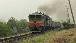 Тепловоз 3ТЭ10М-1297 и толкач 3ТЭ10М-1260 / 3TE10M-1297 with 3TE10M-1260