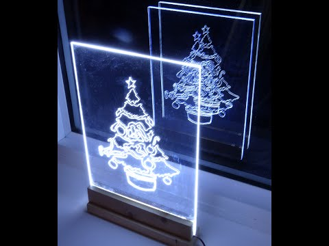 How to make acrylic led Christmas tree edge light sign / decoration