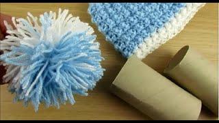 How to make Pom Pom for Baby hat Happy Crochet Club