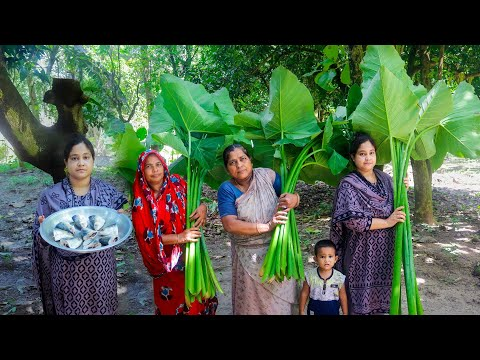 Arum Spinach with Hilsa Head Cooking Recipe for Kids by Village Food Life
