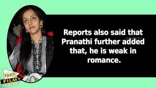 Shocking : Pranathi says NTR is Weak in Romance
