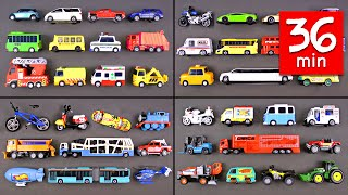 Learning Street Vehicles for Kids (36 Mins) - Hot Wheels Matchbox Tomica トミカ Tayo 타요 Disney Cars