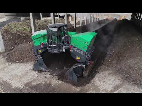 Komptech Topturn X5000 Compost Windrow Turner in Operation
