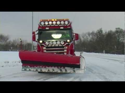 Winter December 8, 2012 Snow plowing with Scania truck and Volvo wheel loaders