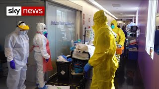 Doctors in Spain have told Sky News that dealing with the coronavirus crisis is like a natural disaster that won't end.  Sky's Alex Rossi has gained exclusive access to a hospital in Barcelona which has converted seven floors into wards dealing with COVID-19 patients - a sign of just how widespread the crisis has become in the country.   Sky News videos are now available in Spanish here/Los video de Sky News están disponibles en español aquí https://www.youtube.com/channel/UCzG5BnqHO8oNlrPDW9CYJog  SUBSCRIBE to our YouTube channel for more videos: http://www.youtube.com/skynews   Follow us on Twitter: https://twitter.com/skynews and https://twitter.com/skynewsbreak   Like us on Facebook: https://www.facebook.com/skynews   Follow us on Instagram: https://www.instagram.com/skynews   For more content go to http://news.sky.com and download our apps:    Apple https://itunes.apple.com/gb/app/sky-news/id316391924?mt=8   Android https://play.google.com/store/apps/details?id=com.bskyb.skynews.android&hl=en_GB