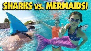 SHARKS VS. MERMAIDS CHALLENGE!!! Underwater Family Battle with Mermaid Tails!