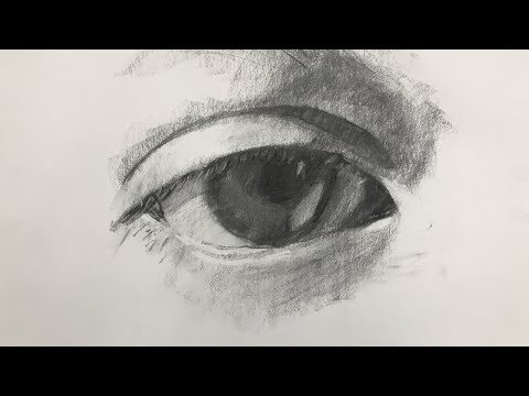 Charcoal Drawing of an Eye for Beginners Step by Step
