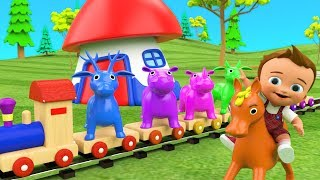 Baby Learn Colors & Animals Names for Children with Wooden Animals Toys Train Transport 3D Kids Edu