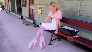 Catie Reviews Pleaser BEYOND-087 Baby Pink 10 Inch High Heels Shoes With Walk At Old Petrie Town