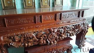 Bàn thờ NGŨ PHÚC, TỨ LINH gỗ Mít, Hương chân 22