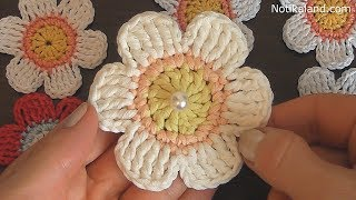 Crochet flower tutorial  VERY EASY crochet flower applique patterns