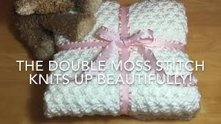 HOW TO KNIT - BEAUTIFUL MOSS STITCH BABY BLANKET - SUPER EASY FOR BEGINNERS