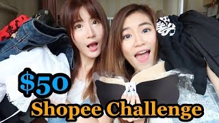 $50 Shopee Shopping Challenge + Try-on Haul!