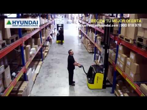 Gran presentación de retractiles apiladores transpaletas equipos almacen Hyundai