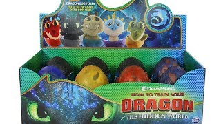How to Train Your Dragon: The Hidden World Dragon Egg Plush Full Set Unboxing Toy Review