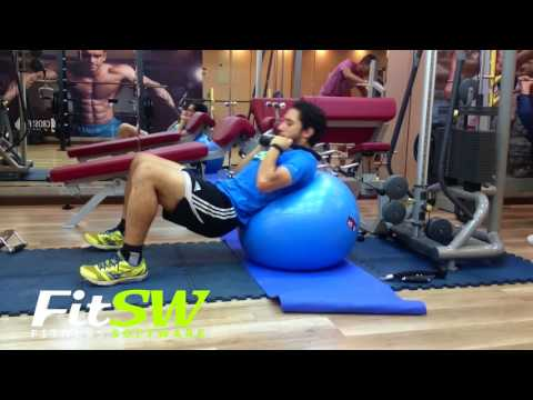Cable Lying Crunch Stability Ball: Exercise Demo How-to