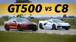 C8 Corvette vs GT500 Mustang | Drag & Roll-on Racing Comparison