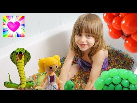 ВАННА с ОРБИЗ Змея Ворует  Яйца с Сюрпризом Orbeez Лалалупси Видео для Детей Обнимашки с Машей