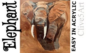 Charging Bull Elephant Colorful Elephant Art, Abstract Acrylic Painting