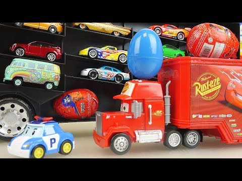 Cars truck car toys career and surprise eggs play