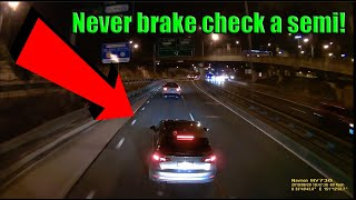 Semi Trucks and Cars Brake Checked - RAGE or INSURANCE SCAM attempt?  |  Fail Compilation 2019   #12