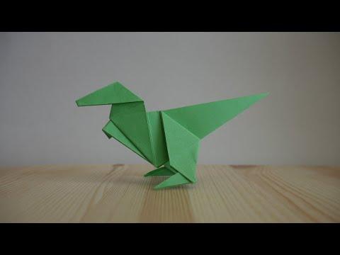 Оригами. Как сделать динозавра из бумаги (видео урок)
