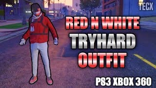 GTA 5 White & Red Tryhard RunNGun Outfit Tutorial - PS3 Xbox 360