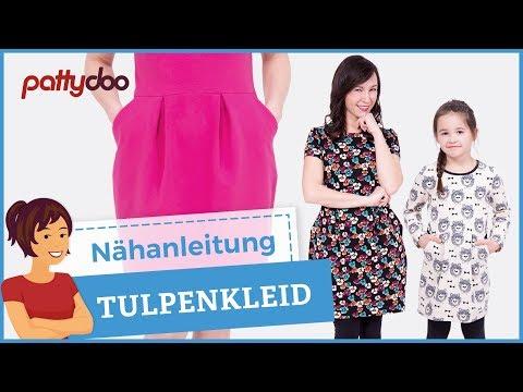 Sweatkleid mit Taschen und Kellerfalten-Tulpenrock nähen - Schnittmuster für Frauen und Kinder