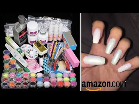 AMAZON ACRYLIC NAIL KIT DEMO | doing my own nails at home