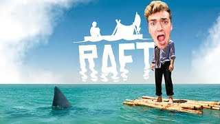 I AM STUCK IN THE OCEAN WITH A SHARK.. - Raft Ep: 01