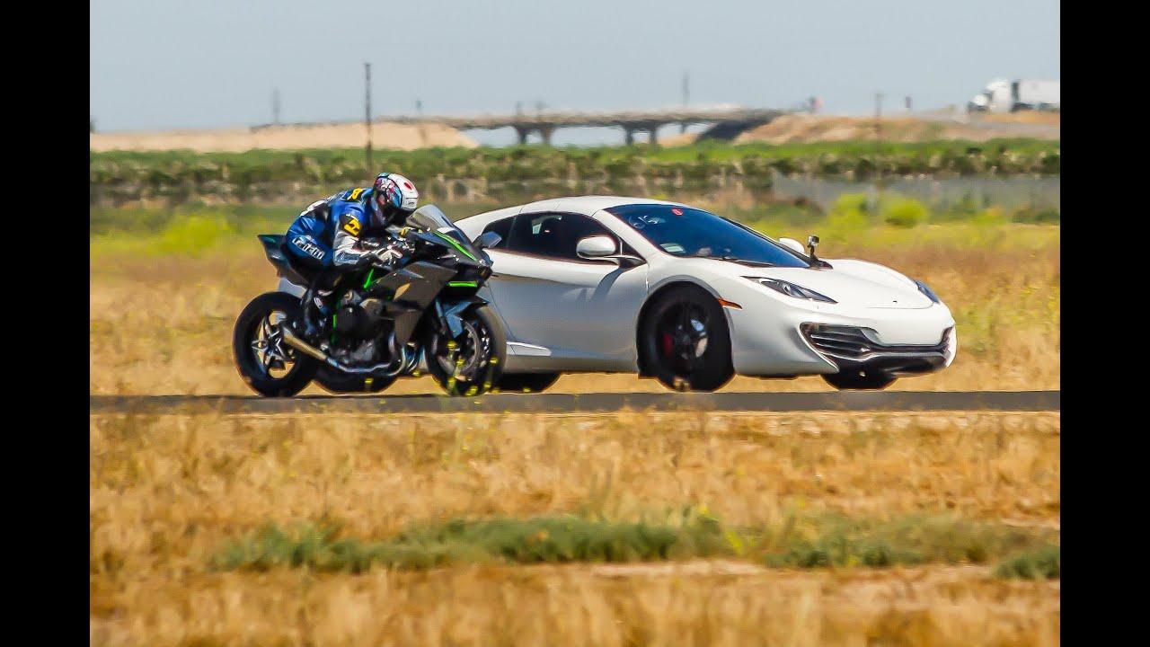 Watch A Kawasaki Motorbike Beat A Bugatti Veyron And McLaren MP4-12C In A Drag Race