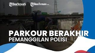 Seorang Pria Lakukan Parkour Melompati Jalan Layang di Pademangan, Berkahir Pemanggilan Polisi