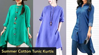 NEW ARRIVAL 2020 Of Summer Cotton\Linen Midi Tunic Shirts\Kurtis Tunic Top|Midi Outfit For Girls