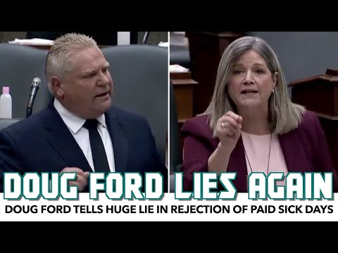Doug Ford Tells Huge Lie In Rejection Of Paid Sick Days