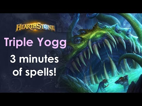 Ridiculous Triple Yogg – 3 minute spell sequence with lethal! [Hearthstone Gameplay]